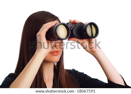 Business woman strategist with binoculars