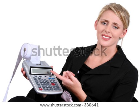 Business Woman Stressed With Calculations Over White. - stock photo