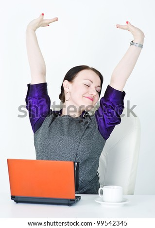 Business woman stretching - stock photo