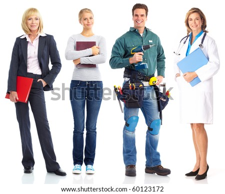 Business woman, student, builder, doctor. Isolated over white background