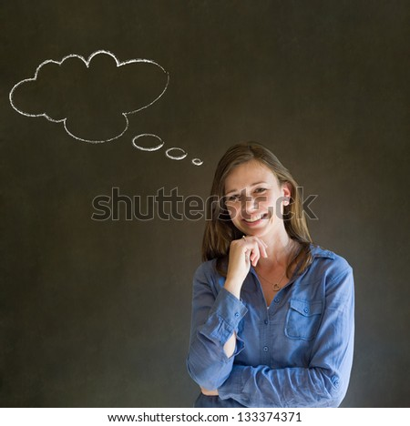 Business woman, student or teacher with thought thinking chalk cloud on blackboard background
