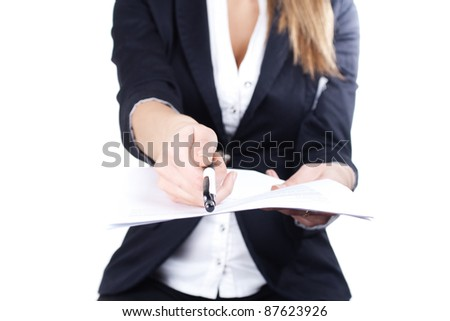 business woman suggests to sign papers - stock photo