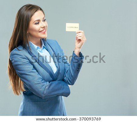 Business woman suit dressed show plastic credit card. Smiling model with long hair isolated portrait. - stock photo