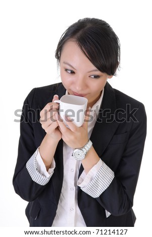 Business woman take break with coffee, closeup portrait over white background. - stock photo