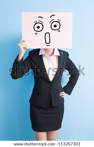 business woman take surprise billboard, isolated blue background