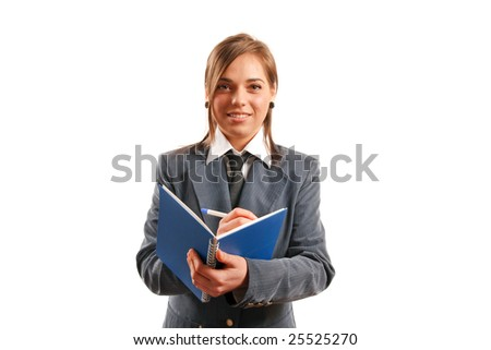 Business woman taking notes. - stock photo
