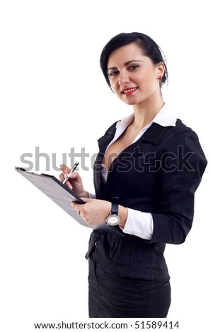 Business woman Taking Notes over white background