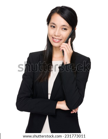 Business woman talk to phone - stock photo