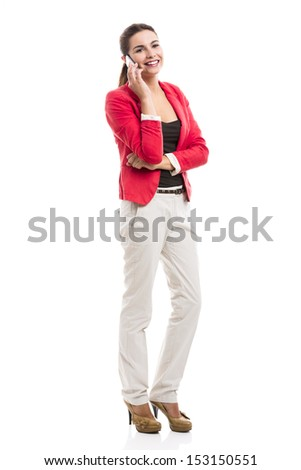 Business woman talking at phone, isolated over a white background - stock photo