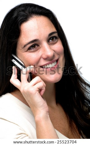 Business woman talking. Cellular phone