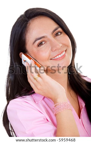 business woman talking on a phone isolated over white