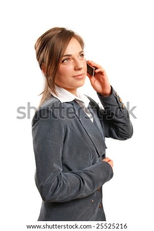 Business woman talking on the phone. - stock photo