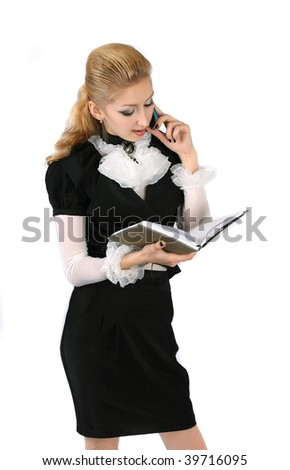business woman talking on the phone - stock photo