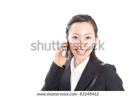 Business woman talking on the phone isolated over a white background - stock photo