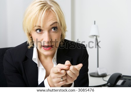 Business woman talking very bossy or aggressively
