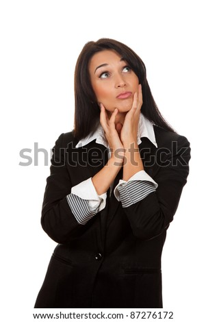 business woman think looking up, isolated over white background, pondering thoughtful - stock photo