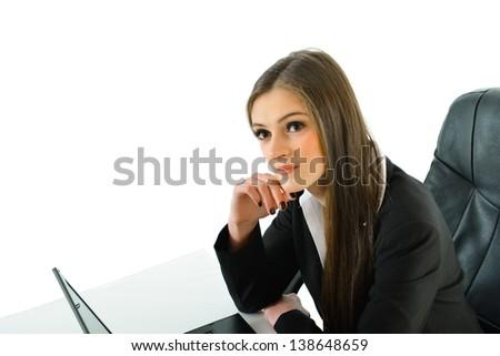 Business Woman Thinking - stock photo