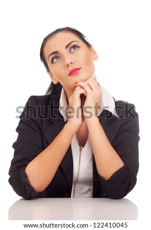Business woman thinking about something - stock photo
