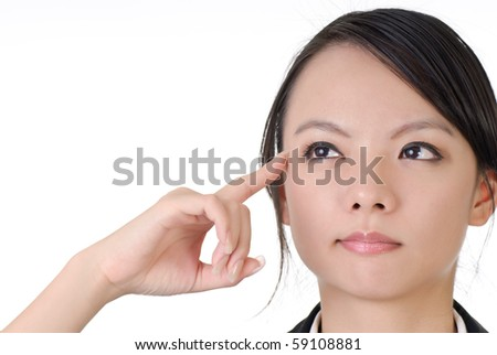 Business woman thinking and put finger on mind, closeup portrait on white background. - stock photo