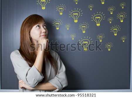 Business woman thinking many ideas.