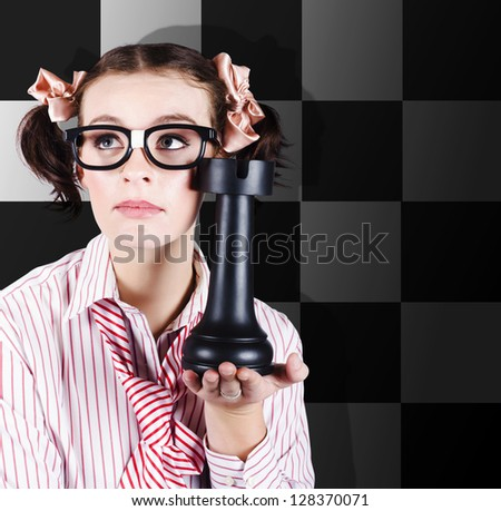 Business Woman Thinking Up A Best Practice Trade Move To Outsmart The Opposition In A Depicted Strategy Game Plan Concept Against Chequered Chess Background - stock photo
