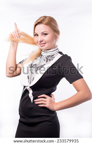 Business woman thumb up gesture, smile business woman, isolated on white background