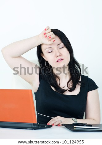 Business woman tired - stock photo