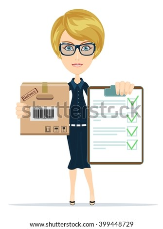 Business woman to deliver mail, cargo notification. Stock illustration - stock photo