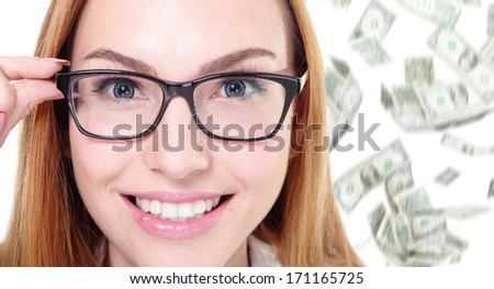 business woman touch eye glasses with money falling rain isolated on white background - stock photo