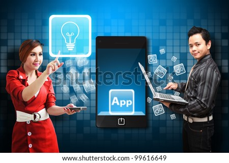 Business woman touch Light Bulb icon from mobile phone - stock photo
