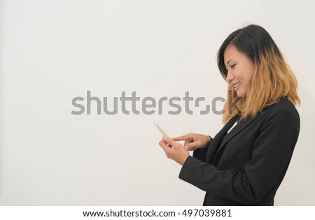 business woman touch on cellphone