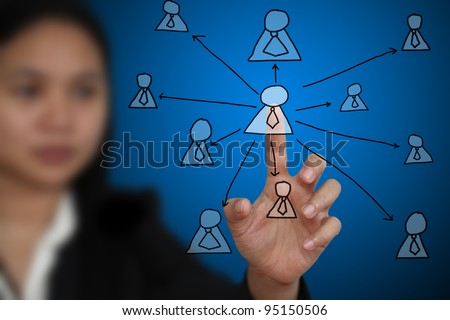 Business Woman touch on Key Person on Virtual Technology Screen using for Business decentralization concept - stock photo