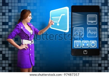 Business woman Touch the Cart icon from mobile phone - stock photo