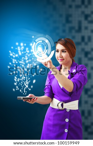 Business woman touch the power circle from mobile phone