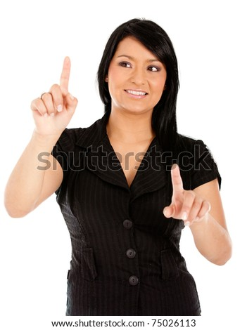 Business woman touching an imaginary screen with her fingers - isolated - stock photo