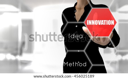 Business woman touching the innovation button of a virtual touch screen. 3D Rendering