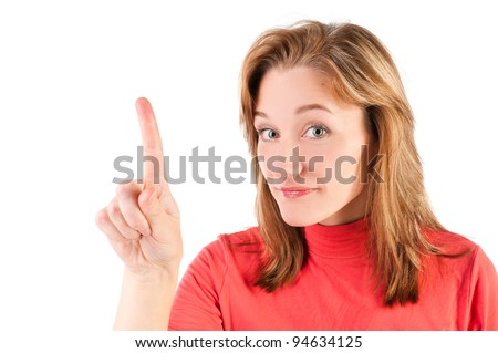 business woman touching the screen with her finger isolated over a white background