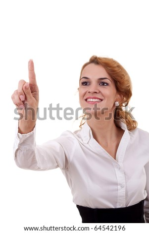 business woman touching virtual pad transparent key with finger over white - stock photo