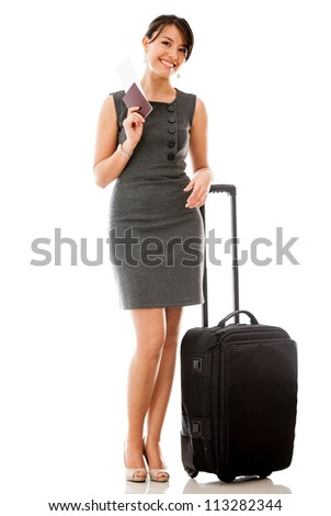 Business woman traveling holding passport, ticket and bag - isolated