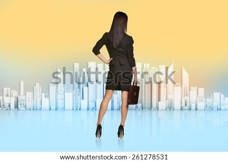 Business woman turned back looks at the city. - stock photo