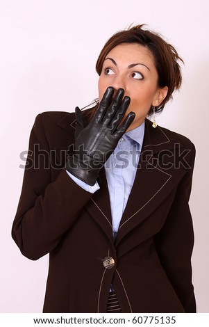 Business woman under stress condition - stock photo