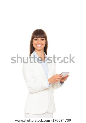 Business woman use communicator, write send message and smiling, businesswoman smile hold cell smart phone, wear elegant suit isolated over white background - stock photo