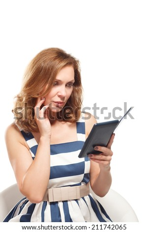 business woman uses a ebook - stock photo