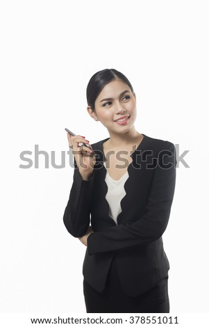 business woman using  smart phone isolated on white background, asian beauty