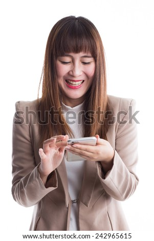Business woman using smart phone on white background