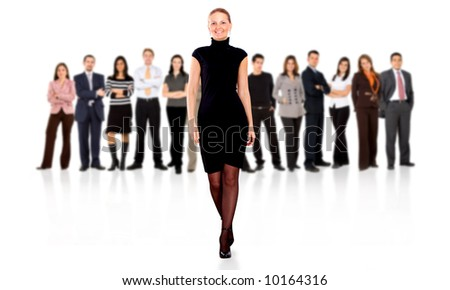 business woman walking and leading the team in front of the group isolated over a white background - stock photo