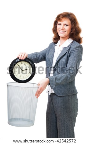 Business woman waste time throwing away clock to bin