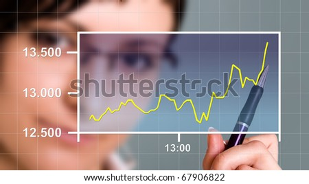 Business woman watching the upward trend of a graphic chart. - stock photo