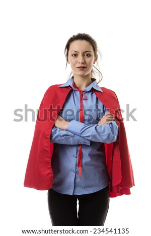business woman wearing a super hero cape  - stock photo
