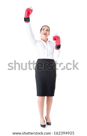 Business woman wearing boxing gloves. Idolated on white.  - stock photo